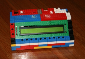lego bricks used to build a diy harware case